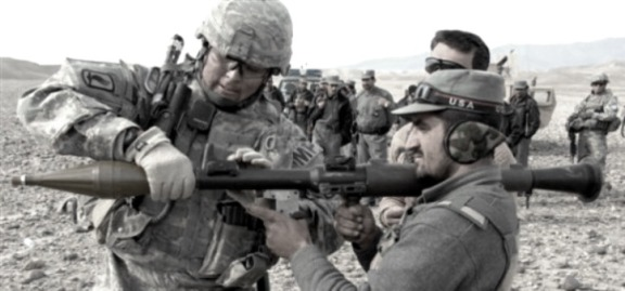 US soldier & Afghan trainee with RPG