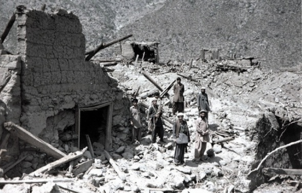 Afghan village after allied bombing