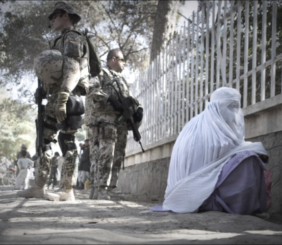 afghan woman & u.s. soldiers