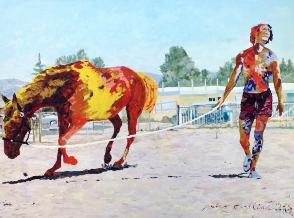 Man Running Horse