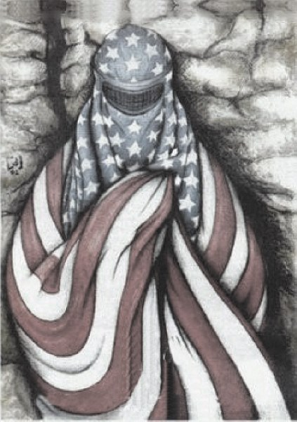 red white blue burqa