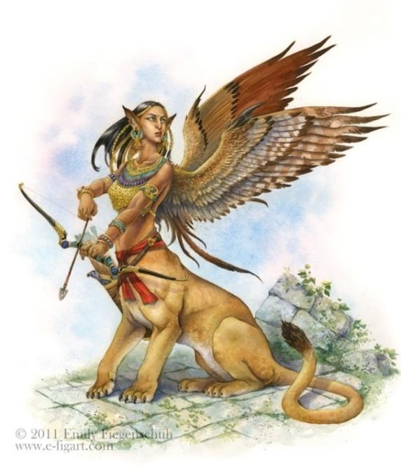 Sphinx fantasy creature archer gouache